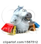 Clipart Of A 3d Chubby White Horse Carrying Shopping Bags On A White Background Royalty Free Illustration