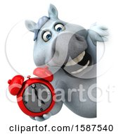 Clipart Of A 3d Chubby White Horse Holding An Alarm Clock On A White Background Royalty Free Illustration by Julos