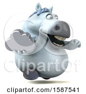 Clipart Of A 3d Chubby White Horse Holding A Cloud On A White Background Royalty Free Illustration by Julos