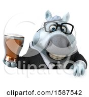 Clipart Of A 3d Chubby White Business Horse Holding A Beer On A White Background Royalty Free Illustration by Julos