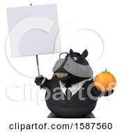 Clipart Of A 3d Chubby Black Business Horse Holding An Orange On A White Background Royalty Free Illustration