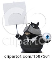 Clipart Of A 3d Chubby Black Business Horse Holding An Eyeball On A White Background Royalty Free Illustration