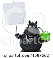 Clipart Of A 3d Chubby Black Business Horse Holding A Gas Can On A White Background Royalty Free Illustration