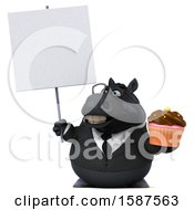 Clipart Of A 3d Chubby Black Business Horse Holding A Cupcake On A White Background Royalty Free Illustration