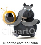 Clipart Of A 3d Chubby Black Horse Holding A Tv On A White Background Royalty Free Illustration