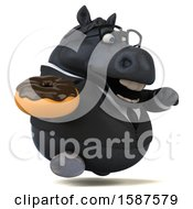 Clipart Of A 3d Chubby Black Business Horse Holding A Donut On A White Background Royalty Free Illustration