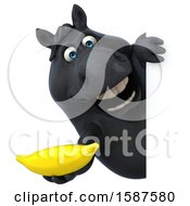 Clipart Of A 3d Chubby Black Horse Holding A Banana On A White Background Royalty Free Illustration