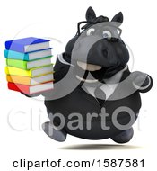 Clipart Of A 3d Chubby Black Business Horse Holding Books On A White Background Royalty Free Illustration
