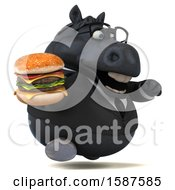 Clipart Of A 3d Chubby Black Business Horse Holding A Burger On A White Background Royalty Free Illustration