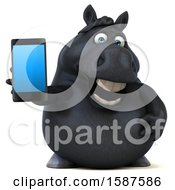 3d Chubby Black Horse Holding A Smart Phone On A White Background