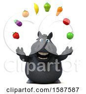 Clipart Of A 3d Chubby Black Horse Holding Produce On A White Background Royalty Free Illustration