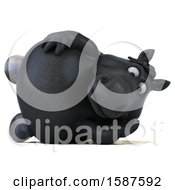 Clipart Of A 3d Chubby Black Horse Resting On His Side On A White Background Royalty Free Illustration