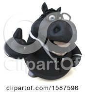 Clipart Of A 3d Chubby Black Business Horse Holding A Thumb Up On A White Background Royalty Free Illustration
