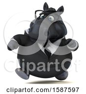 Clipart Of A 3d Chubby Black Business Horse Running On A White Background Royalty Free Illustration