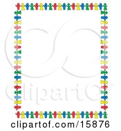 Stationery Border Of Colorful Paper Dolls Holding Hands And Bordering A White Background Clipart Illustration