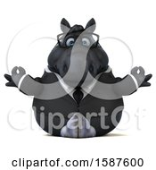 Clipart Of A 3d Chubby Black Business Horse Meditating On A White Background Royalty Free Illustration