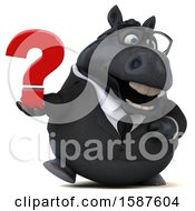 Clipart Of A 3d Chubby Black Business Horse Holding A Question Mark On A White Background Royalty Free Illustration