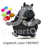 Clipart Of A 3d Chubby Black Business Horse Holding Messages On A White Background Royalty Free Illustration