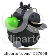 Clipart Of A 3d Chubby Black Business Horse Holding An Apple On A White Background Royalty Free Illustration