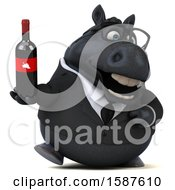 Clipart Of A 3d Chubby Black Business Horse Holding Wine On A White Background Royalty Free Illustration