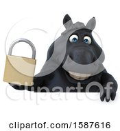 Clipart Of A 3d Chubby Black Horse Holding A Padlock On A White Background Royalty Free Illustration