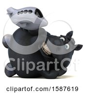 Clipart Of A 3d Chubby Black Horse Holding A Plane On A White Background Royalty Free Illustration