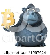 Clipart Of A 3d Gorilla Mascot Holding A Bitcoin Symbol On A White Background Royalty Free Illustration by Julos