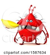 Clipart Of A 3d Red Germ Monster Holding A Banana On A White Background Royalty Free Illustration