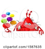 Clipart Of A 3d Red Germ Monster Holding Messages On A White Background Royalty Free Illustration