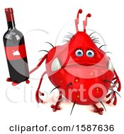 Clipart Of A 3d Red Germ Monster Holding Wine On A White Background Royalty Free Illustration