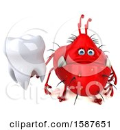 Clipart Of A 3d Red Germ Monster Holding A Tooth On A White Background Royalty Free Illustration