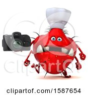 Clipart Of A 3d Red Germ Chef Monster Holding A Camera On A White Background Royalty Free Illustration