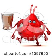 Clipart Of A 3d Red Germ Monster Holding A Beer On A White Background Royalty Free Illustration