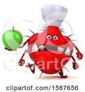 Clipart Of A 3d Red Germ Chef Monster Holding An Apple On A White Background Royalty Free Illustration