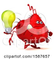 3d Red Germ Monster Holding A Light Bulb On A White Background