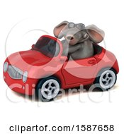 Clipart Of A 3d Elephant Driving A Convertible On A White Background Royalty Free Illustration