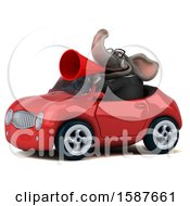Clipart Of A 3d Business Elephant Driving A Convertible On A White Background Royalty Free Illustration