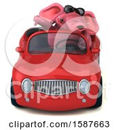Clipart Of A 3d Pink Elephant Driving A Convertible On A White Background Royalty Free Illustration