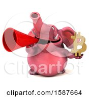 3d Pink Elephant Holding A Bitcoin Symbol On A White Background