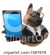 3d Business German Shepherd Dog Holding A Smart Phone On A White Background