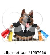 3d Business German Shepherd Dog Carrying Shopping Bags On A White Background