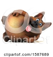 Clipart Of A 3d German Shepherd Dog Resting On His Side On A White Background Royalty Free Illustration