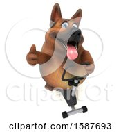 Clipart Of A 3d German Shepherd Dog Exercising On A Spin Bike On A White Background Royalty Free Illustration