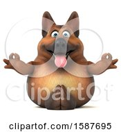Clipart Of A 3d German Shepherd Dog Meditating On A White Background Royalty Free Illustration