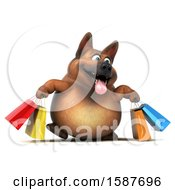3d German Shepherd Dog Carrying Shopping Bags On A White Background