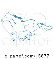 Running Wild Horse In Blue Clipart Illustration
