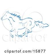 Running Wild Horse In Blue Clipart Illustration