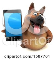 3d German Shepherd Dog Holding A Smart Phone On A White Background