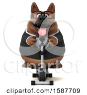 Clipart Of A 3d Business German Shepherd Dog Exercising On A Spin Bike On A White Background Royalty Free Illustration
