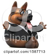 Clipart Of A 3d Business German Shepherd Dog Meditating On A White Background Royalty Free Illustration